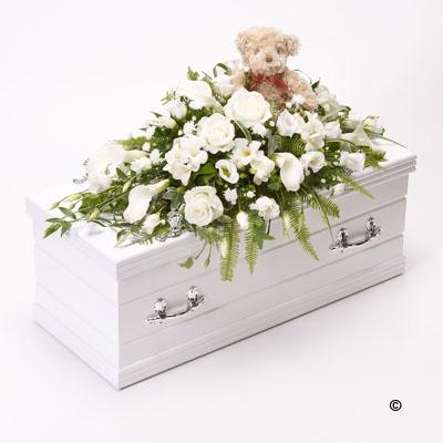 Children's Casket Spray with Teddy Bear   White
