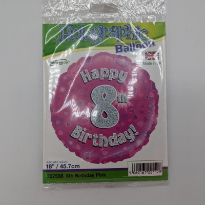 Happy 8th Birthday (Pink) Balloon